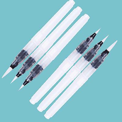 6PCS Pinselstift Brush Pen Stift Kalligraphie Aquarell Pinsel Wassertank S/M/L