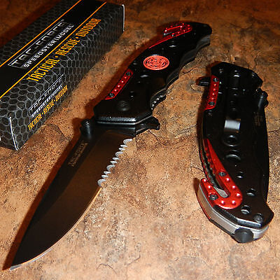 Tac Force Spring Assisted Opening Fire Fighter Fireman Rescue Pocket Knife New
