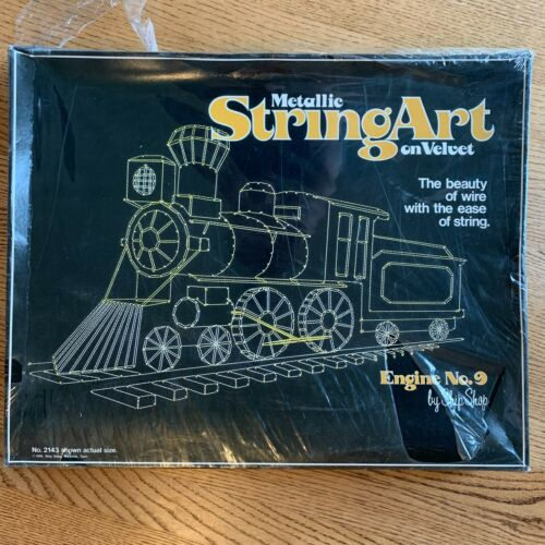Ship Shop Metallic String Art on Black Velvet Kit Train ENGINE No 9 Vintage New