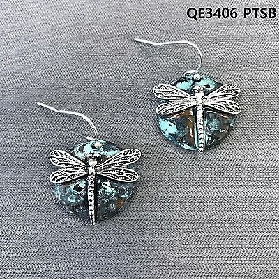 Patina Finished Silver Dragonfly Design Circle Shape Drop Dangle Hook Earrings Dragonfly Hook Dangle Earrings