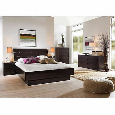 4 Piece Queen Bedroom Furniture Set Headboard Bed Platform Dresser Nightstand