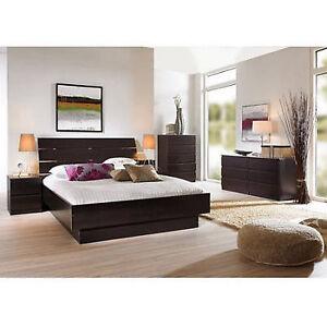4 piece queen bedroom furniture set headboard bed platform dresser nightstand - Full Set Bedroom Set