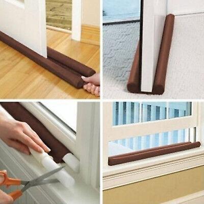 US Twin Door Draft Dodger Guard Stopper Energy Saving Protector Doorstop Home