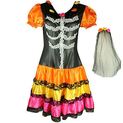 HALLOWEEN DAY OF THE DEAD LADY OUTFIT RAINBOW FANCY DRESS COSTUME SUGAR - Sugar Skull Lady Kostüm
