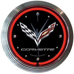 Chevrolet Corvette C7 Logo Red Neon Hanging Wall Clock 15 Diameter 8CORV7