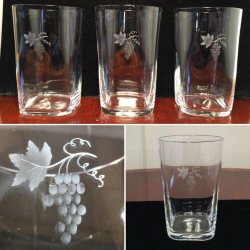 Vintage Set 6 Hand-Signed ORREFORS Grape Etched Crystal Glass Cocktail Tumblers