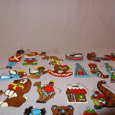 Vtg Lot 20 Hand Painted Flat Wood Christmas Ornaments Toy Soldier Angel Drum