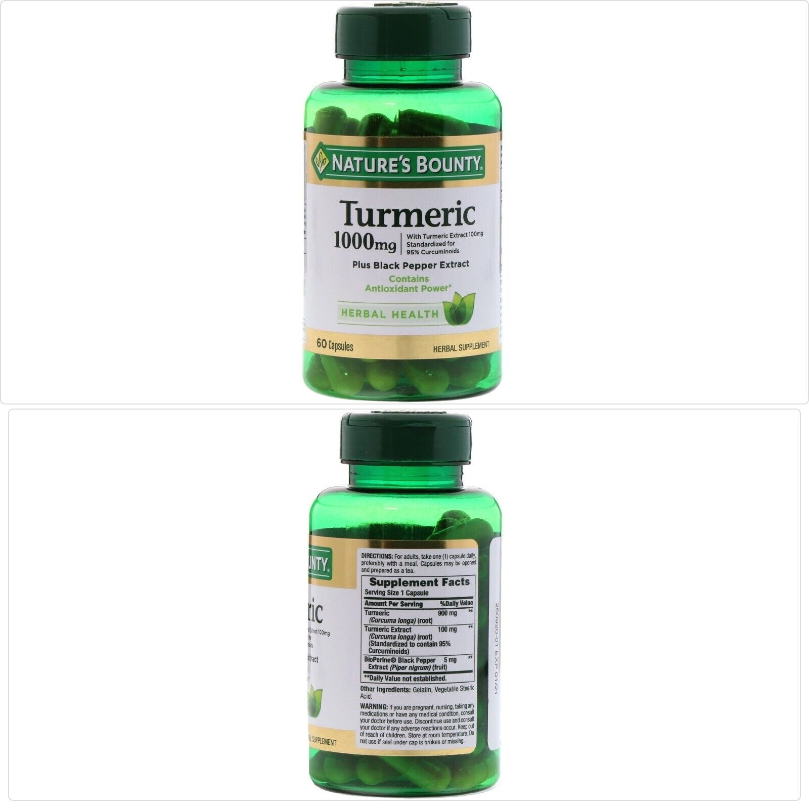 Nature's Bounty, Turmeric, 1000 mg, 60 Capsules