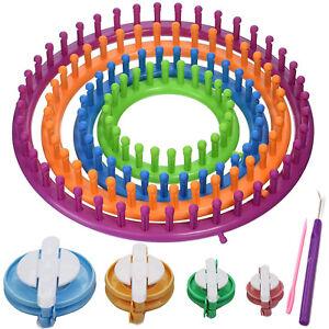 Knitting Knitter Looms Ring Set + Pompom Maker Craft Kit Sock Scarf Hat - Round