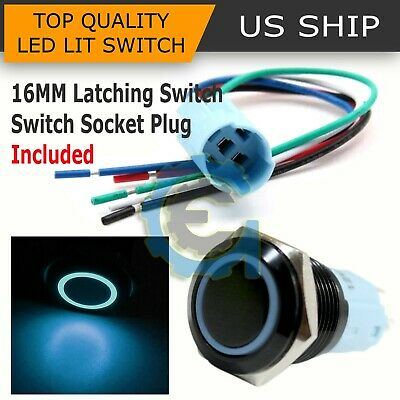 Bsf 16mm Blue Angel Eye Led 12v Latching Push Button Power Switch Waterproof