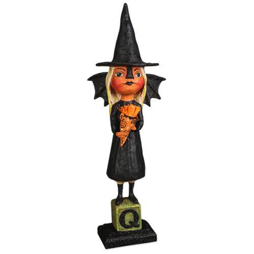 "15"" Bethany Lowe Gothic Witchy Bat Girl Hat Retro Vntg Halloween Figurine Decor"