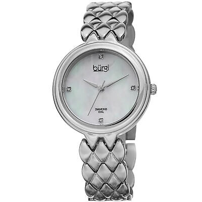 Women's Burgi BUR193SS Diamond Mother of Pearl Silver Stainless Steel Watch