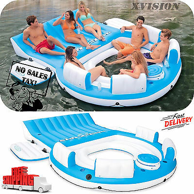 Inflatable Resort Island 7-Person Pool Lake Floating Sea Water Party Rafting New