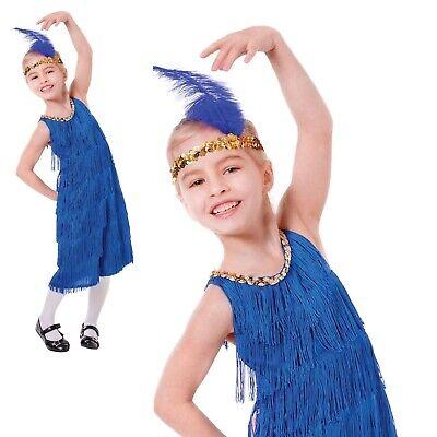 Mädchen 1920s Blau Charleston Flapper Great Gatsby Modisches Kleid Kostüm - Great Gatsby Kostüm Mädchen