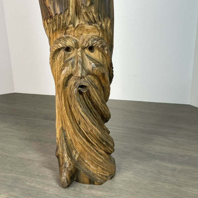 """Hand Carved Signed Wood Spirit Old Man Tree Face Wizard Carving Sculpture 16.5"""""""