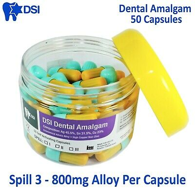 Dsi Dental Amalgam Tooth Cavity Filling Restoration Spill 3 - 50 Capsules Jar