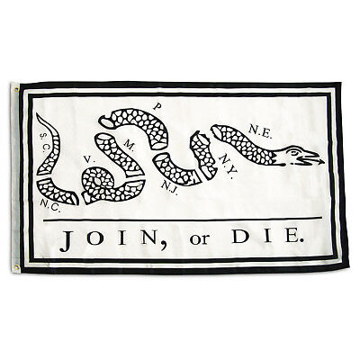 Join Or Die Polyester 2X3 Foot Flag Benjamin Franklin Revolutionary War Banner