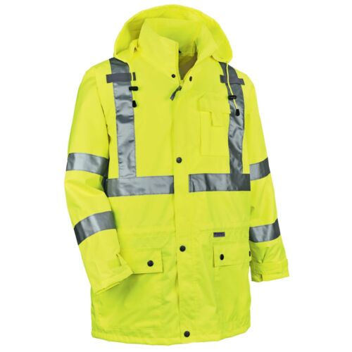 Ergodyne GloWear Class 3 Reflective Safety Rain Jacket, Yellow/Lime