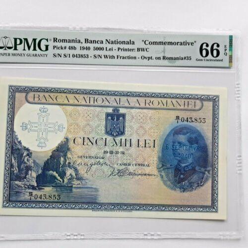 1940 ROMANIA CINCI MII LEI , PMG  66 , GEM UNCIRCULATED