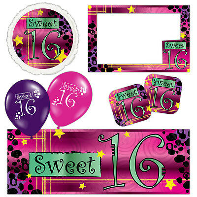 Sweet 16 Banners (Snazzy Sweet 16 16th Birthday Pink Banners Decorations Balloons Party)