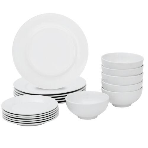 18-Piece Kitchen Dinnerware Set  Dishes 5.5″ Bowls Service for 6 White Dish Set Dinner Service Sets