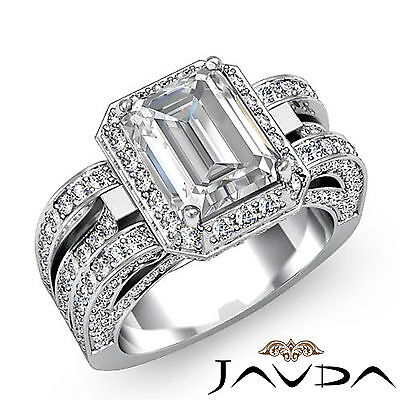 3 Row Shank Radiant Diamond Engagement Pave Ring GIA G Color SI1 Clarity 2.7 Ct
