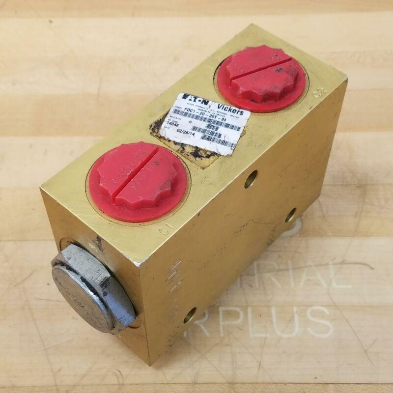 EATON Vickers FDC1-20-20T-33 Pressure Control Valve Block - USED