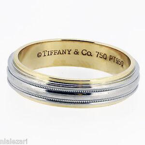 Tiffany Co Platinum 18K Mens Wedding Band Ring 100 Authentic Size 13