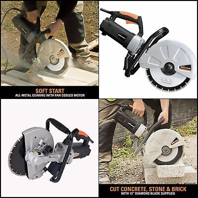 12 In. Corded Concrete Saw Portable 15 Amp Electric Cutter Brick Stone Paving