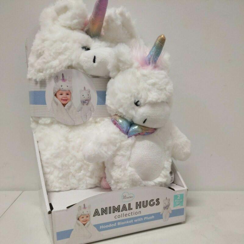 "Little Miracles Plush Unicorn Animal Hugs Hooded Baby Blanket 30""x36"" & Toy"