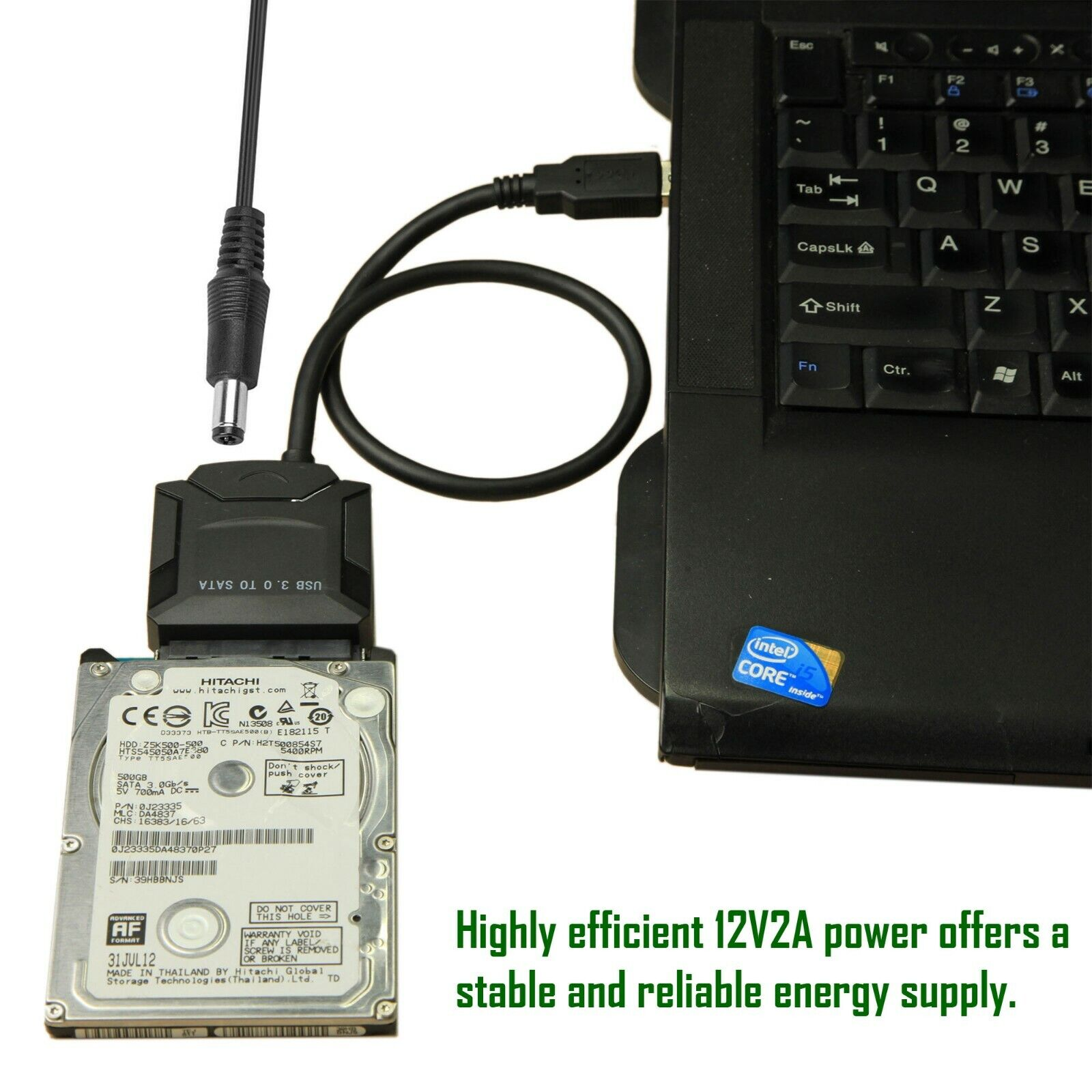 USB 3.0 to SATA III Adapter for 2.5″ 3.5″ SDD HDD Hard Drives with 12V/2A Power Computer Cables & Connectors