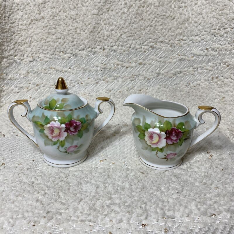 Vintage hand painted roses & gold Japan porcelain creamer & sugar bowl w/ lid