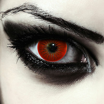 Rote farbige Vampir Kontaktlinsen für Halloween Karneval Kostüm in rot: - Volturi Vampir Kostüm