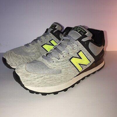 New Balance 574 Women's Gray Black Neon Yellow 8.5