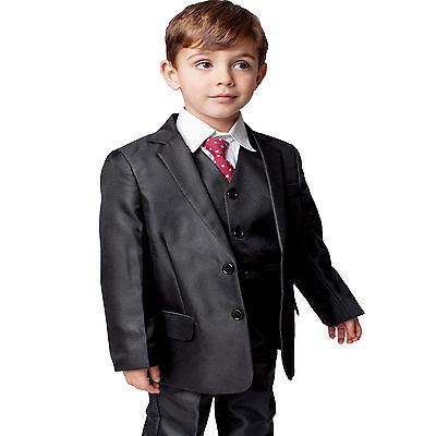Boys Suits Boys Black Suit 5 Piece Wedding Party Formal Outfit (0-3M - 14Yrs) - Black Boys Suits