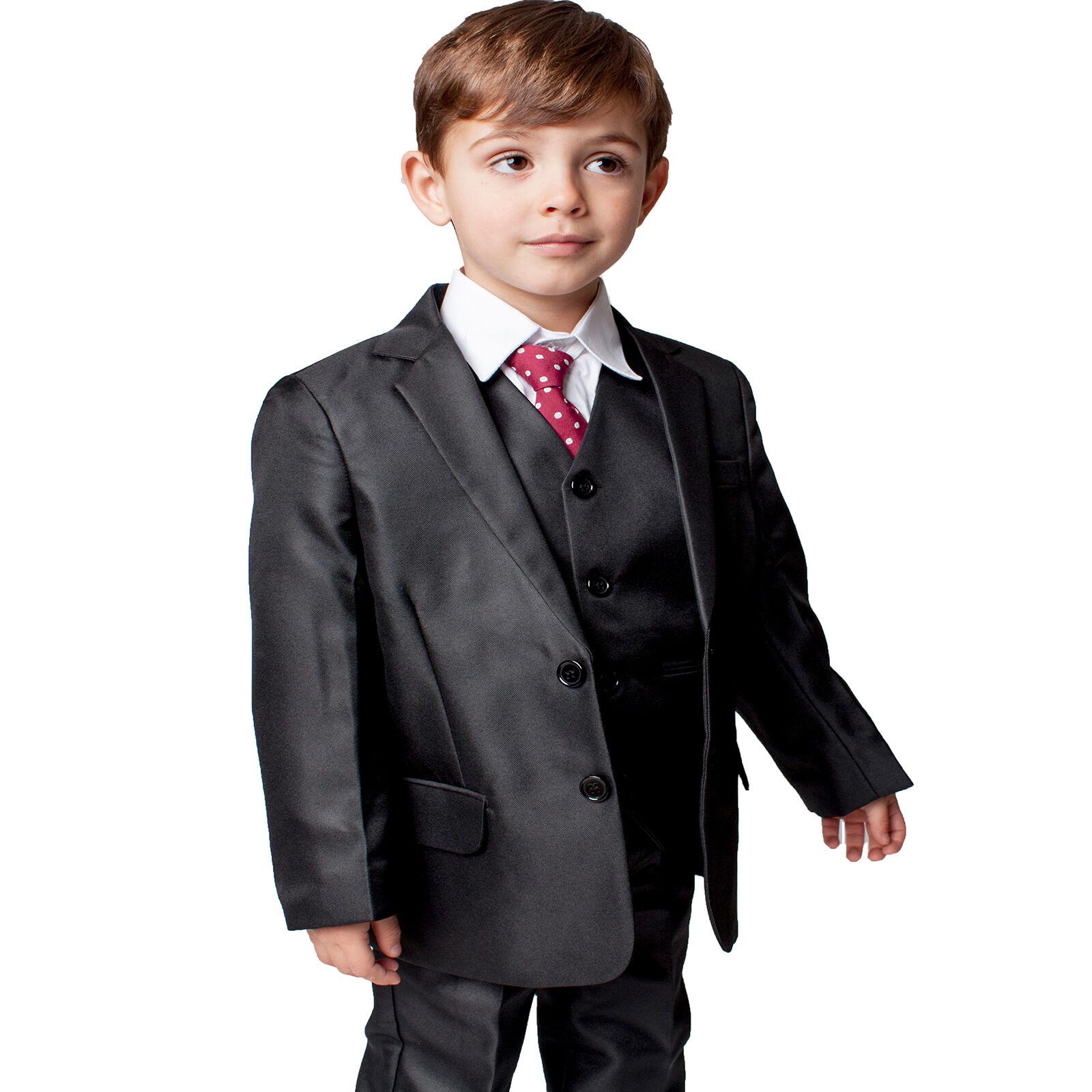 4c251ad0d Details about Boys Suits Boys Black Suit 5 Piece Wedding Party Formal Outfit  (0-3M - 14Yrs)