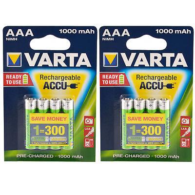 8 x Akku AAA Micro, 1000mAh, 1,2V / Varta ACCU ReadyToUse NiMH Blister HR03