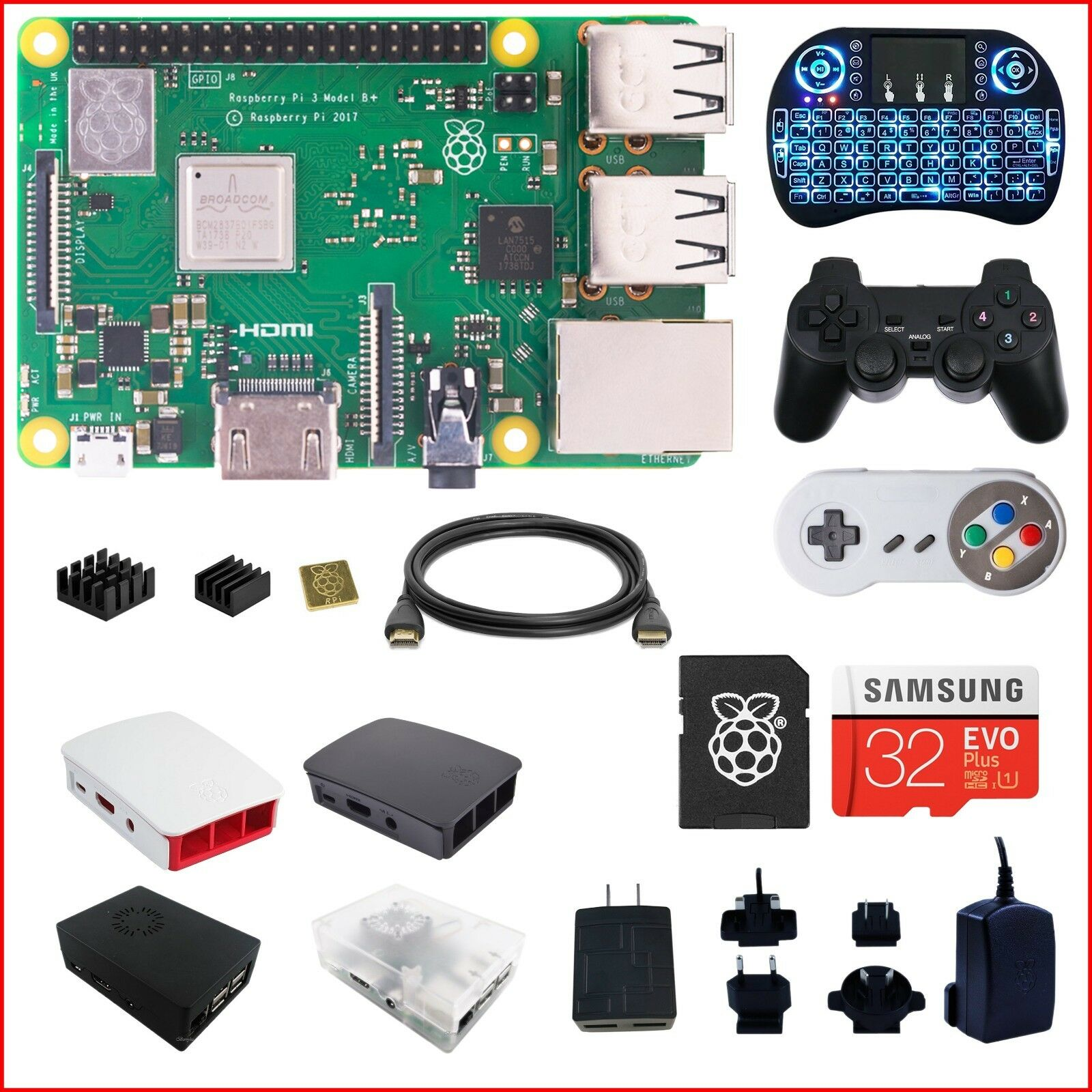 Купить Raspberry Pi RPI3BP-DIY-BLK - Berryku Raspberry Pi 3 B+ (B Plus) DIY Kit - Black KODI RetroPie Minecraft