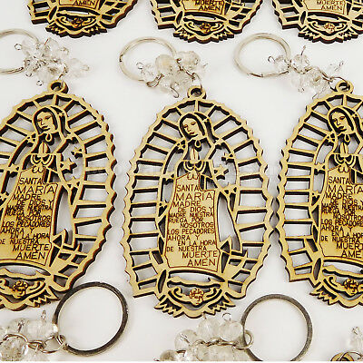 Recuerdos de Bautizo Baptism Favors Bag Fillers Girl Boy Wood Keychain Virgen - Keychain Favors