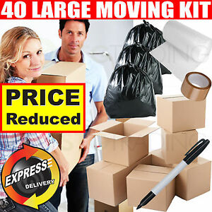 Large Cardboard Box House Flat Office Moving Removal Packing Storage Kit