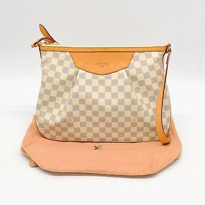 Authentic Louis Vuitton Damier Azur Shoulder Bag Crossbody Siracusa MM White LV