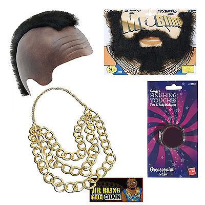 Mr T Fancy Dress Bling Mohawk Beard Gold Chain Paint (Mr T Kostüme)
