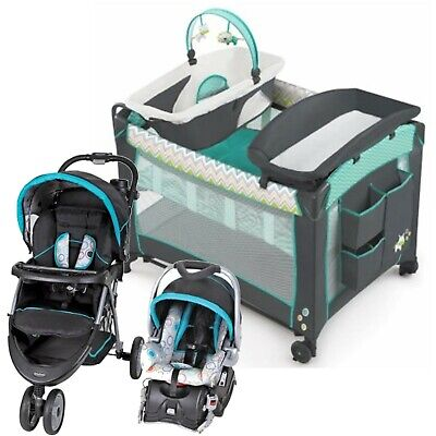 Baby Stroller Jogger with Car Seat Infant Playard Travel System Combo Set