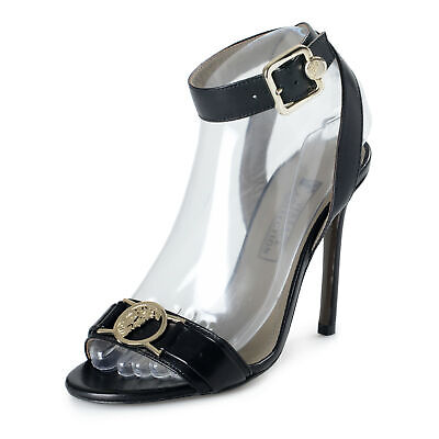 Versace Collection Women's Black Leather High Heel Ankle Strap Sandals Shoes