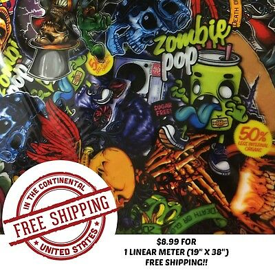 Hydrographic Water Transfer Hydro Dip Film Hydro Dipping Film Zombie Pop 1m