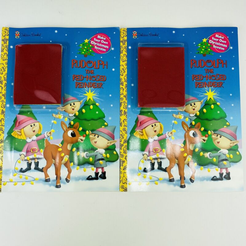 2 Vintage Rudolph The Red-Nosed Reindeer Golden Books Coloring Decorations Books