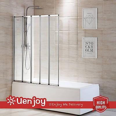 5 Fold 1200x1400mm Matt Silver Folding Bath Shower Screen Door Panel Glass