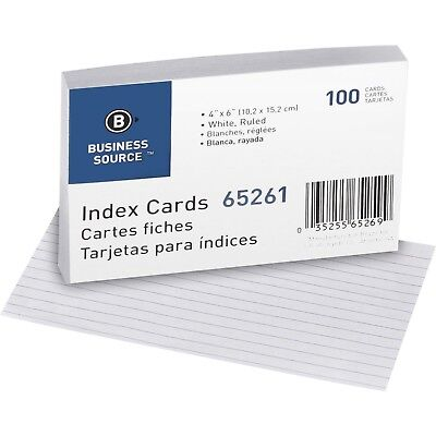 Index Cards Ruled. 4 X 6 White.100pk