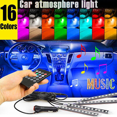 4PCS 36 LED Car Interior Atmosphere Neon Lights Strip Wireless IR Remote Control