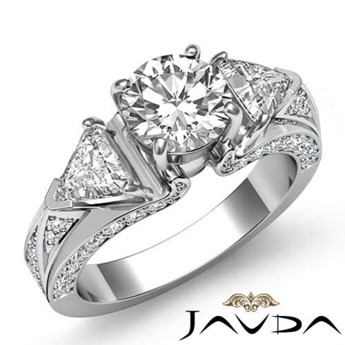 2.5 carat Round Trillion Cut Diamond Engagement GIA F VS1 Platinum 3 Stone Ring